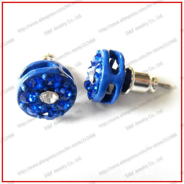 60 Pairs CZ Stud Earrings Hiphop Iced Out Bling Bling Stud Earrings Blue Plated With Blue&Clear Stones