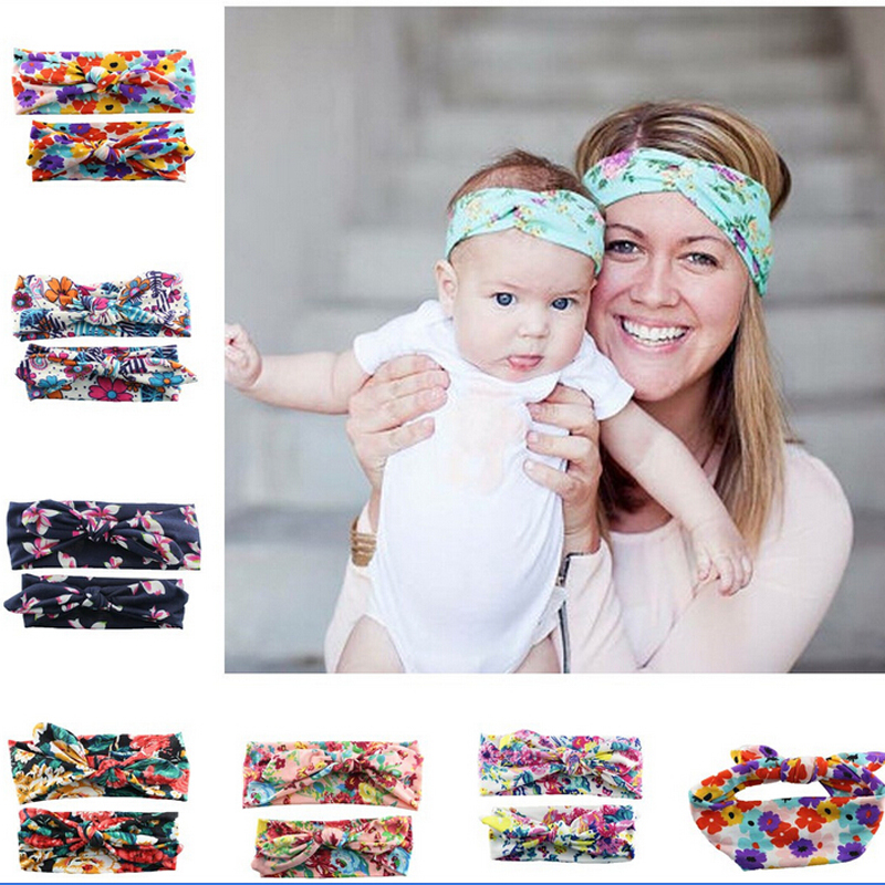 2016 Hot 2piece/Lot Parent-child outfit mom baby head band headband Cloth art hair accessories