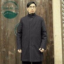 LinenAll original men's 100% cotton autumn and winter long cotton coat men black thick warm parkas QF