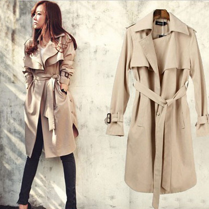 Fashion Coat Female Waistband Punk Cloaks For Women Long   Trench   Coat Autumn Windbreaker Women Coats Plus Size Woman Coat Autumn