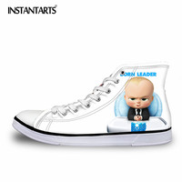 INSTANTARTS Autumn Lace Up Flat   Shoes   for Men Teenager Boy   Vulcanize     Shoes   3D Anime Boss Baby Print Classic High Top Canvas   Shoe