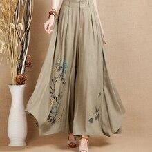 Лето весна осень льняные брюки для женщин окрашенные в национальный тренд широкие брюки повседневные капри размера плюс yys0504