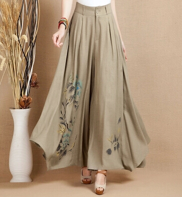 free shipping summer spring autumn linen   pants   for women painted national trend wide leg   pants   casual   capris   plus size yys0504