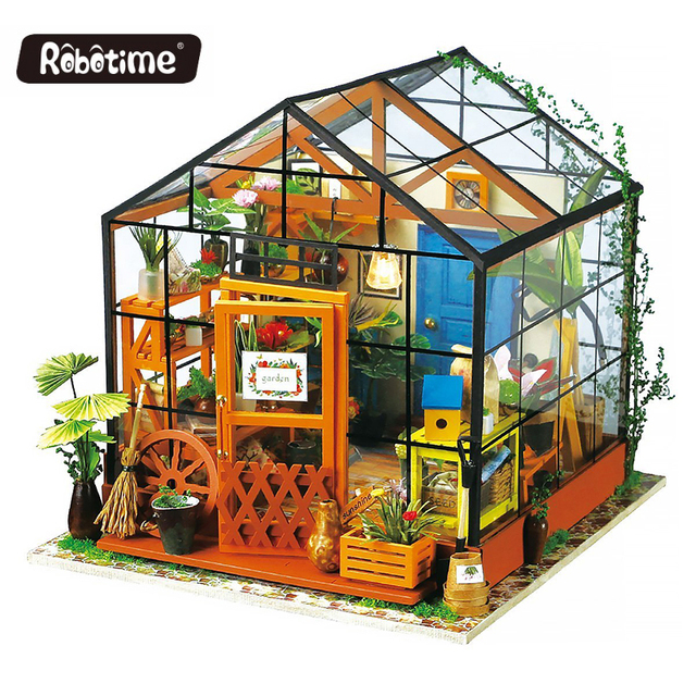 Robotime DIY Doll House Toy Wooden Miniatura Doll Houses Miniature Dollhouse toys With Furniture LED Lights Birthday Gift