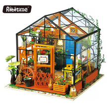 Robotime DIY Doll House Toy Wooden Miniatura Doll Houses Miniature Dollhouse toys With Furniture LED Lights