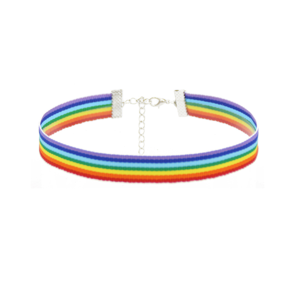 Fashion Colorful Rainbow Choker Necklace Ribbon Clavicle Chain For Women Lesbian <font><b>Bisexual</b></font> <font><b>Pride</b></font> Simple <font><b>Jewelry</b></font> Party Gift image