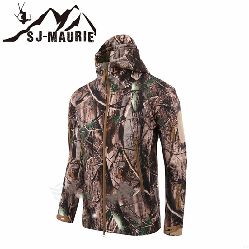 Outdoor Camouflage Waterproof Softshell Windproof Tactical Hunting Jacket Fishing Trekking Fleece Men Coat Army Military Jacket