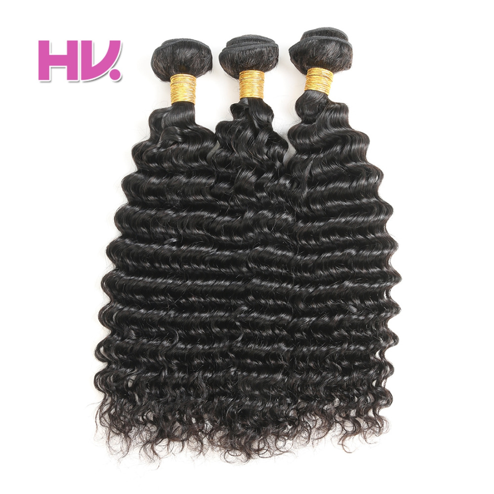 Raw Indian Deep Wave Human Hair Bundles #2 #4 #1 Color is Available in Stock Hair Villa Non Remy Hair #1B Color Free Shipping