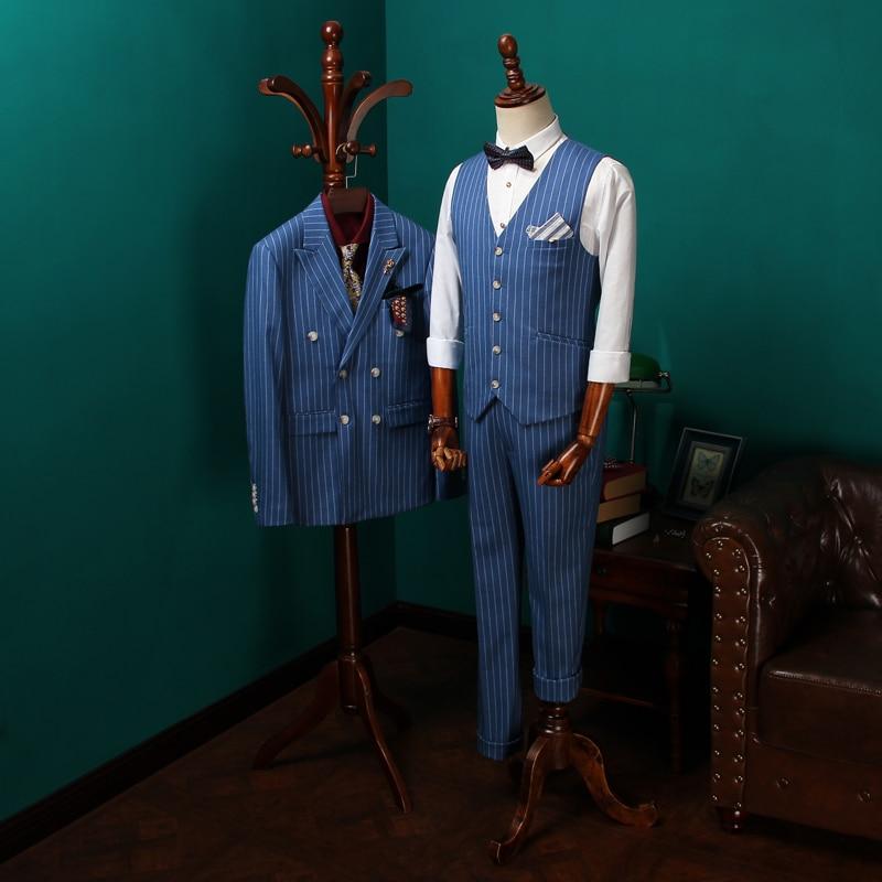 Top Quality 2018 Mens Suits 3 Psc Blazer+Vest+Pants Groom Wedding Suits For Men Dress Blue Striped Double Breasted Suit CBTZ27