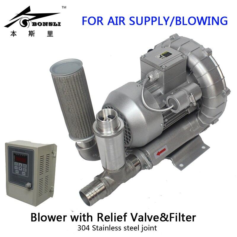 Ventilateur industriel d'anneau de canal latéral de pompe à vide triphasée de 370 watts avec la soupape de décharge et le filtre VFD contrôle de débit d'air continu