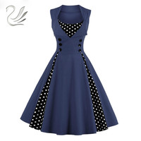 Women Dress Retro Vintage 50 60s Polka Dots Pinup Rockabilly Hepburn Party Dresses Tunic Plus Size