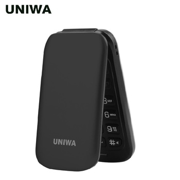 UNIWA X18 בכיר Flip טלפון GSM דחיפה גדולה-לכפתור Flip נייד טלפון Dual Sim FM רדיו רוסית מקלדת סמארטפון נייד