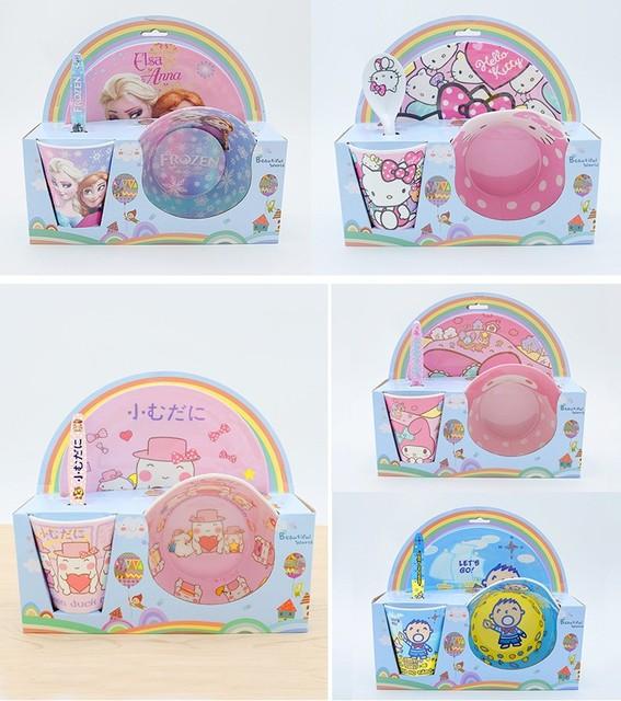 Cozinha 4 pcs/adorável animais jogo de jantar conjunto para o bebê 100% crianças Melamina placa conjunto de talheres garfo colher de vidro arco