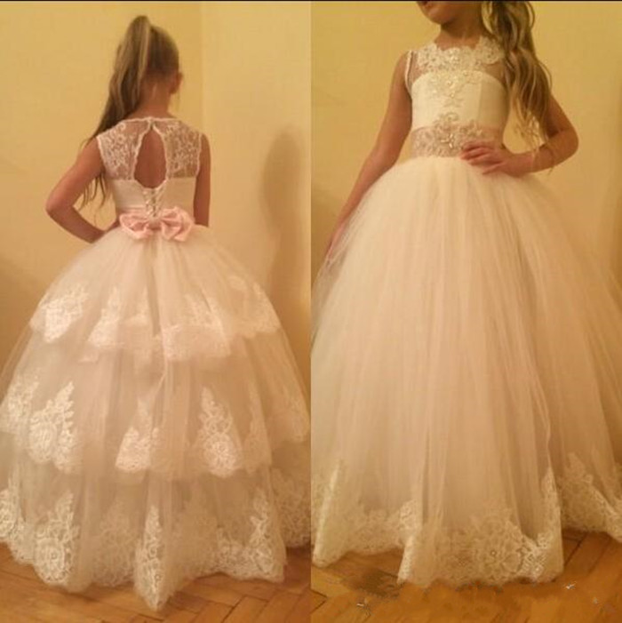 Tiered Formal Wears with Pink Sash Crystal Appliques Customized Flower Girl Dress for Wedding Ball Gowns For Girl Birthday PartyTiered Formal Wears with Pink Sash Crystal Appliques Customized Flower Girl Dress for Wedding Ball Gowns For Girl Birthday Party