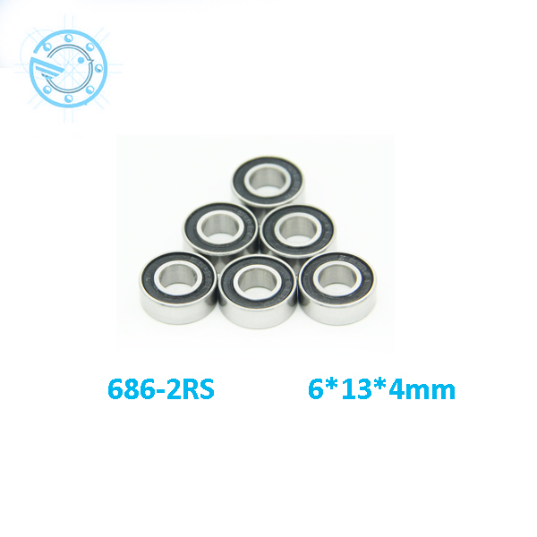 Free shipping 10pcs 686-2rs 686RS 6*13*5mm  chrome steel  bearing 686 RS  bearings rubber Sealed Miniature Mini  Bearing free shipping 50pcs lot miniature bearing 688 688 2rs 688 rs l1680 8x16x5 mm high precise bearing usded for toy machine