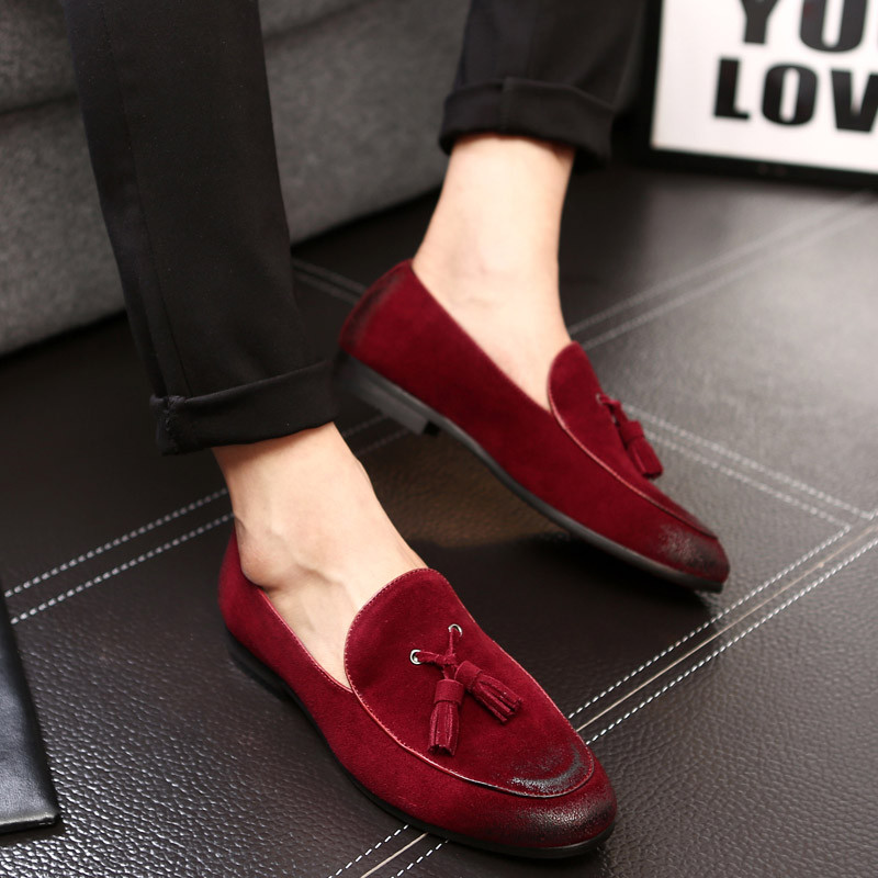 Merkmak 2020 Men's Fashion Soft Moccasins Suede Leather Dress Wedding Loafers Vintage Tassel Shoes Male Oxfords Driving Shoes