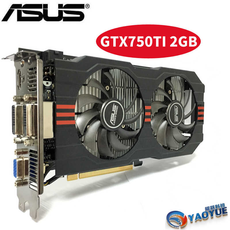 Asus GTX-750TI-OC-2GB GTX750TI GTX 750TI 2G D5 DDR5 128 Bit PC Desktop  Graphics Cards PCI Express 3.0  computer Video card HDMI