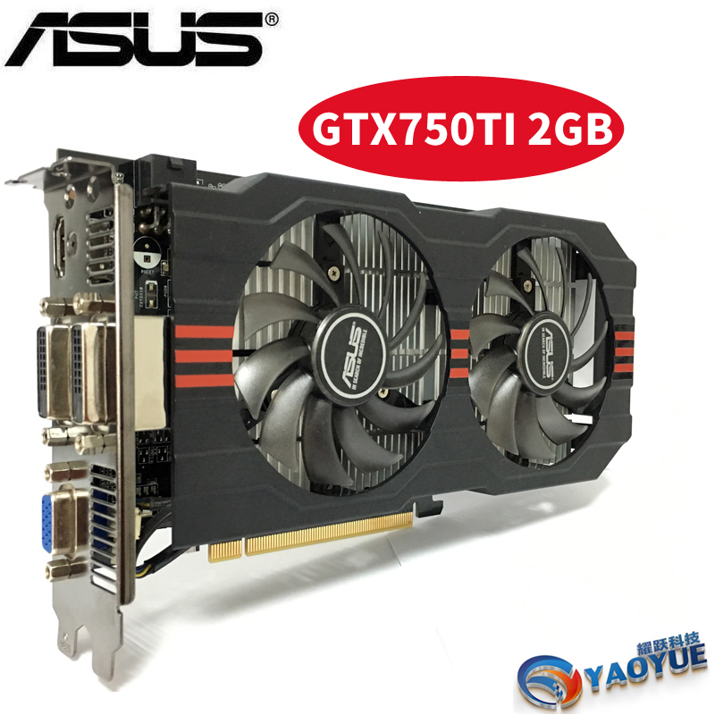 Asus GTX-750TI-OC-2GB GTX750TI GTX 750TI 2 г D5 DDR5 128 бит настольных ПК Графика карты PCI Express 3,0 компьютер видеокарты HDMI