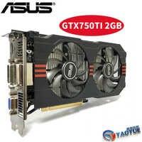 Asus GTX-750TI-OC-2GB GTX750TI GTX 750TI 2G D5 DDR5 128 bits cartes graphiques pc de bureau PCI Express 3.0 carte vidéo d'ordinateur HDMI