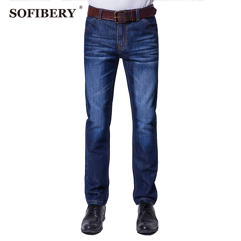 ФОТО SOFIBERY Brand High Stretch Blue Denim Jeans Men's Slim Straight jeans size  28-40  Fall in prices  Free shipping M543-MG129
