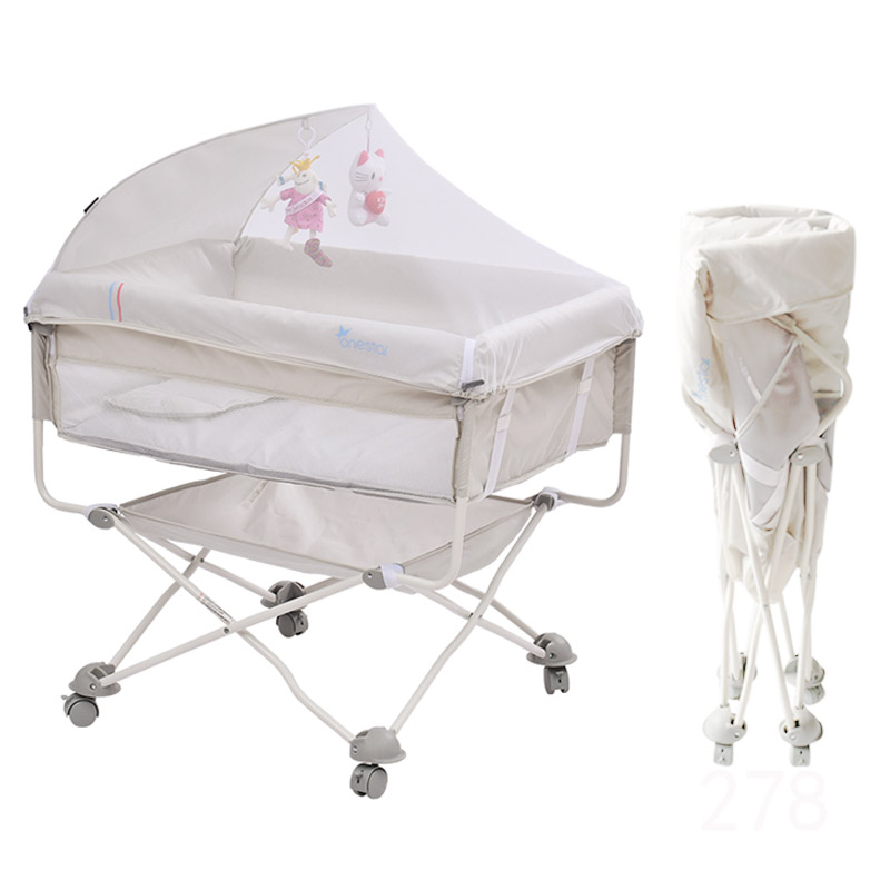 Portable Newborn Bed Multi-function Folding Travel Cot Free Installation Baby Bed With Mosquito Net Stitching Bed