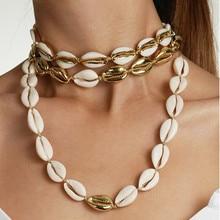 bohemian Plated Natural puka cowrie shells Necklace handmade Cord Closure women chokers necklaces erkek kolye collares de moda