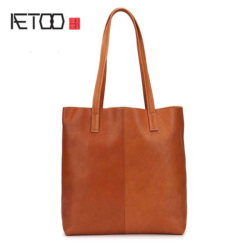 AETOO First layer of leather original handmade oil wax leather handbag handbags simple package European and American leather sho aetoo europe and the united states first layer of oil wax leather men s handbag diagonal cross a4 package multi functional compu