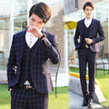 2017 new arrival wedding dress suits Business Dress Wedding Suits, men's Slim casual plaid three-piece terno masculino