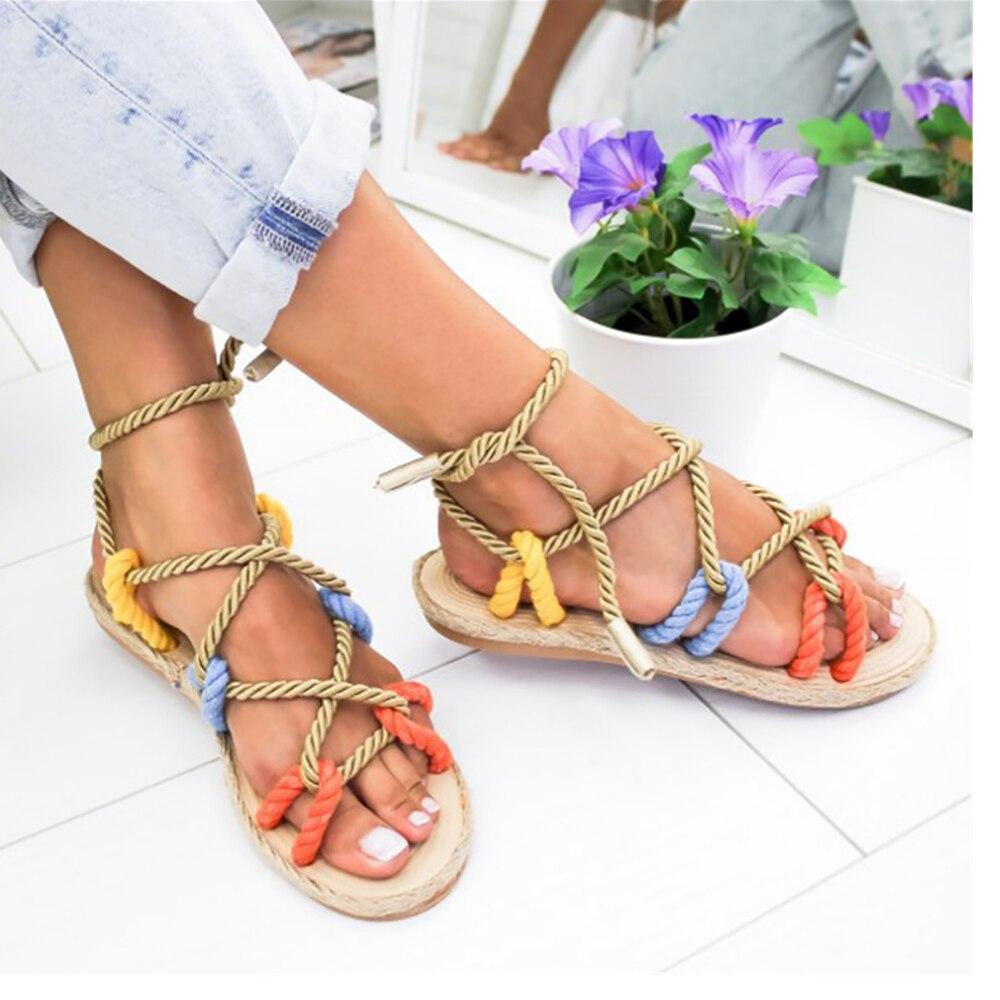 Female Sandals Shoes New-Style Summer Flat Beach-Gladiator Non-Slip Lace-Up Hemp Fashion