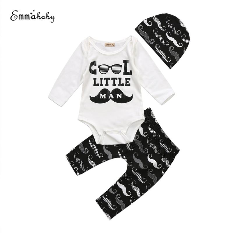 Baby Boys Moustache Clothes Set Newborn Baby Cool Letter Tops Romper+Long Pants+Hat 3Pcs 2018 New Outfits Kid Cotton Clothes Set