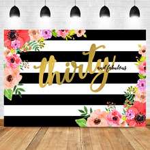 Thirty and Fabulous Backdrop Black White Stripe Floral Photography Background 30th Birthday for Elegant Lady Photo Backdrops