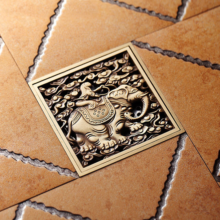 Copper antique Elephant design anti odor floor drain shower floor drains rectangle shower drainer