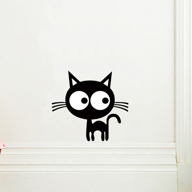 Cute Cartoon Kitten Wall Sticker DIY Backdrop Decor For Home Decoration Room Decals Art Wallpaper Toilet Stickers On The Wall