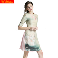Femmes rendent De Noël robe patineuse lady long casual bureau slim fit soie Qipao robes floral partie 2018 printemps été VA