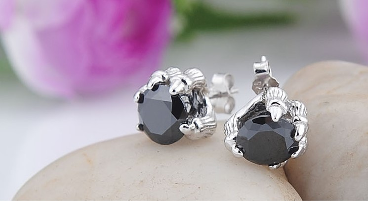 Black Dragon Claw Silver Plated Earrings