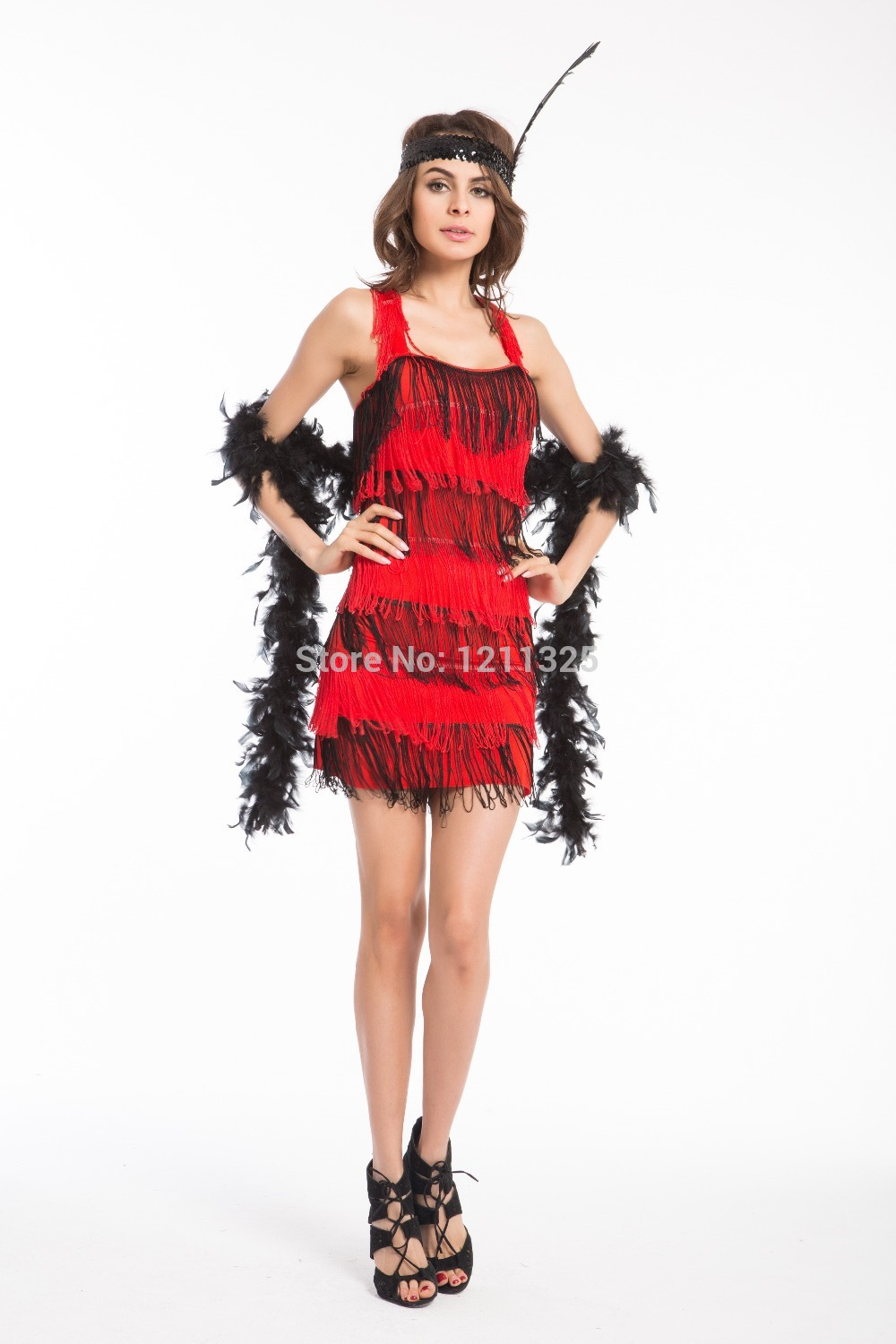 Dazzling dance dress Gold red purple red Flapper Costume with Feather fancy dress  costume party dress plus size s 3xl-in Holidays Costumes from Novelty ... 0faa73b39