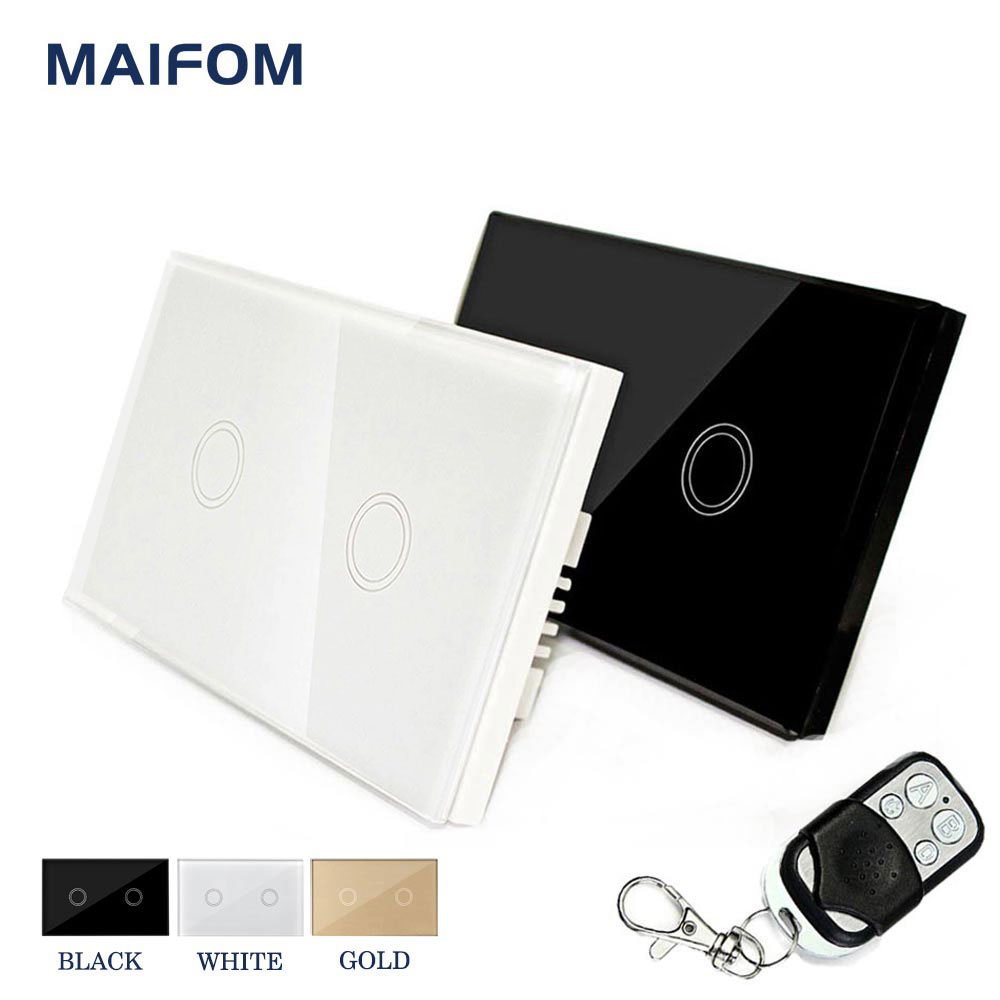 MAIFOM Smart Home Touch Remote Control Switch 110V-240V US Standard Waterproof Glass Panel for Home Electrical supplies us standard 1gang 1way remote control light touch switch with tempered glass panel 110 240v for smart home hospital switches