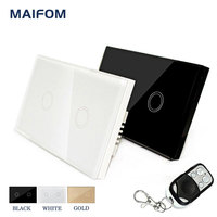 MAIFOM 2Gang 1Way Smart Touch Switch RF Remote Control 110V 240V US Standard Waterproof Glass Panel