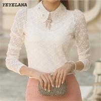 Free Shipping New Fashion Elegant White Beading Peter Pan Collar Long Sleeve Lace Blouse 2014 Autumn