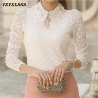 Free Shipping New Fashion Elegant White Beading Peter Pan Collar Long Sleeve Lace Blouse 2014 Autumn