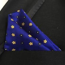 QXY men fashion pocket square mens blue tie handkerchief paisley polyester silk flower scarf for gentlemen F024