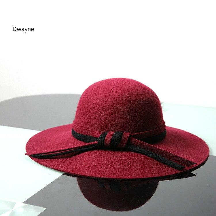 0c7f0ecb6ed Autumn and winter new wool big brim bow ladies hat Korean dome elegant  casual female sun hat