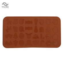 TTLIFE 32 Holes Christmas Pattern Silicone Pad Oven Macaron Non-stick Baking Mat Pan Pastry Cake Tool