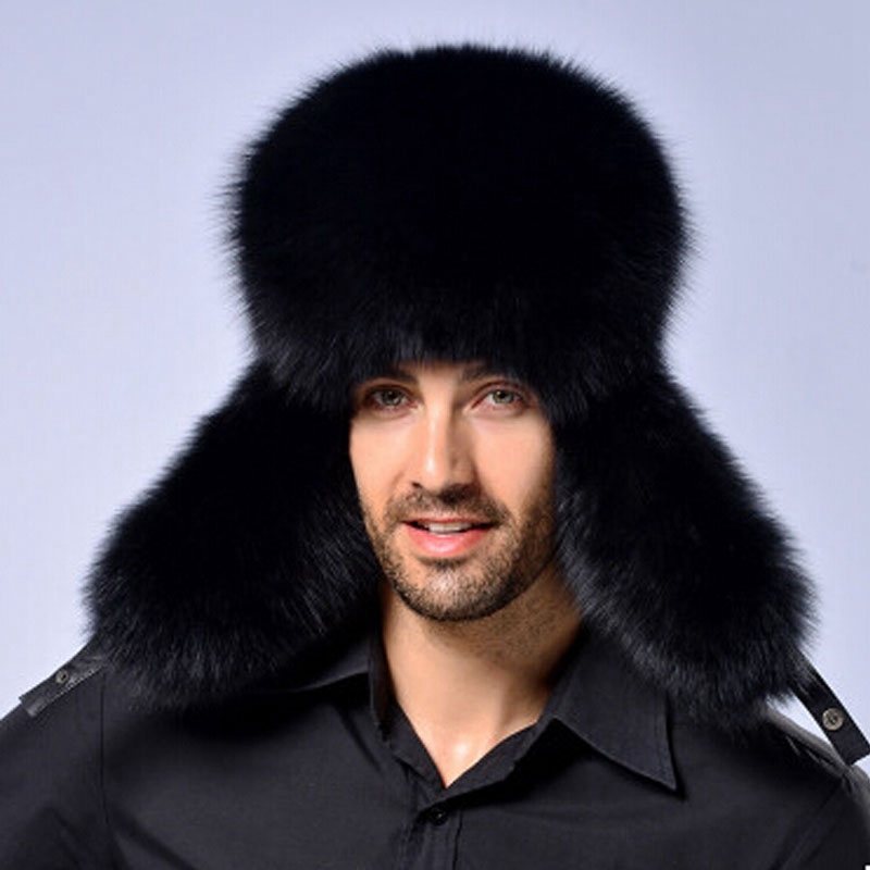 Package mail fur hat men outdoor leather crown fox raccoon middle-aged MAO lei feng mo leisure MZ69