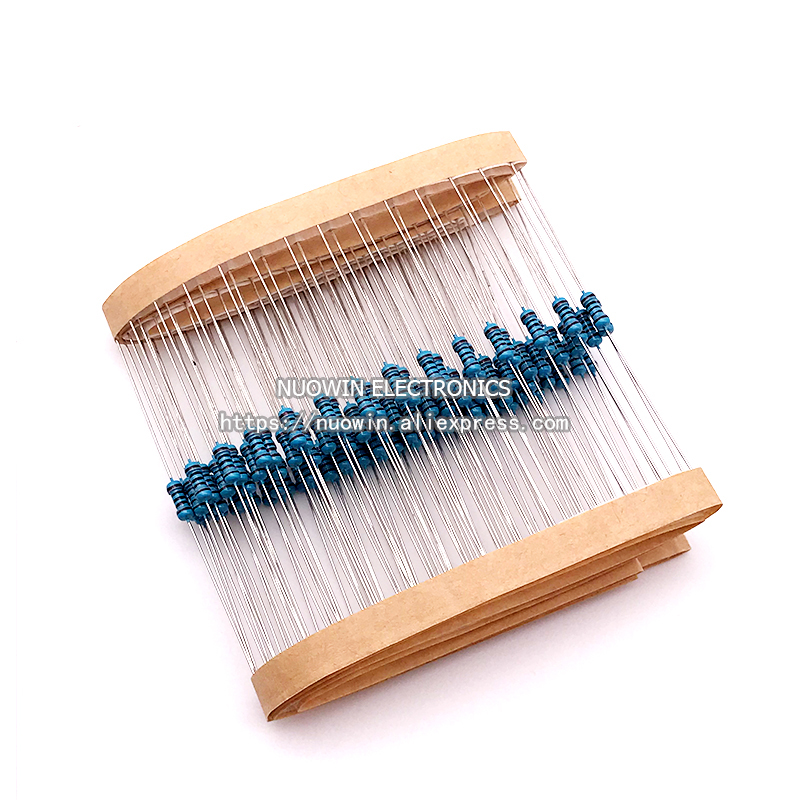 100pcs 1/4W Metal Film Resistor 0.25W 1% 0 2.2 10 100 120 150 220 270 330 390 470 1K 2.2K 4.7K 10K 15K 100K 470K 1M Ohm(China)