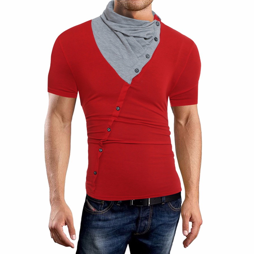 Men T Shirt 2019 New Tee Tops Short Sleeves Turtleneck Stylish Slim Fit T Shirt Casual Men T Shirt Size XXL Tee Tops in T Shirts from Men 39 s Clothing