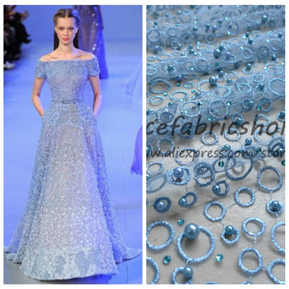 New fashion metallic stones pearls high grade on netting embroidered ...