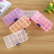 1pcs Plastic10 Slots Adjustable Jewelry Packaging Box Transparent Tool Case Craft Organizer Box Jewelry Boxes Storage