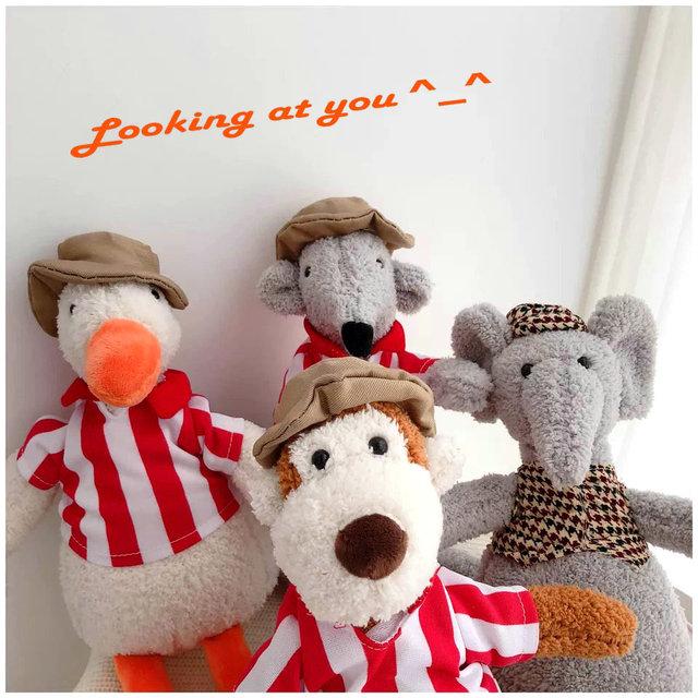 Macaco de pelúcia brinquedos beanbag vestir elefante/porco cor de rosa com chapéu de pelúcia boneca animal macio brinquedo do miúdo do bebê boneca apaziguar o presente das crianças