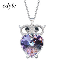 Cdyle Owl Shaped Pendants Women Necklaces Crystals From Swarovski Jewelry Austrian Rhinestone Chic Fashion Accessories Vintage